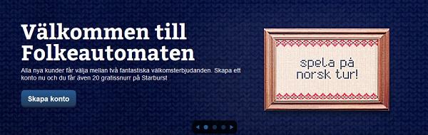 Casino online med casinobonus från Folkeautomaten