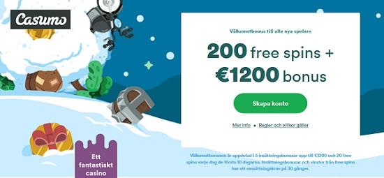 Få 1200 euro casinobonus hos Casumo Casino
