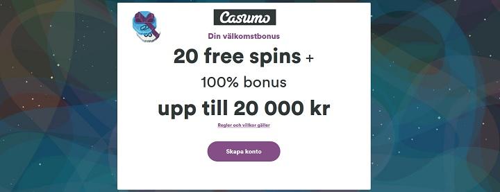 Casumo casinobonus 100% upp till 20 000 kr